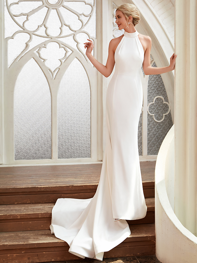 44257307904 Sheath   Column Halter Neck Court Train Chiffon   Satin Made-To-Measure  Wedding Dresses with by LAN TING BRIDE®   Open Back   Royal Style