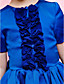 A-line / Ball Gown Tea-length Flower Girl Dress - Satin Short Sleeve Jewel with Draping / Ruffles / Sash / Ribbon