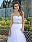 트럼펫 / 인어 아가씨 strapless 예배당 기차 태 피터 및 organza의 웨딩 드레스