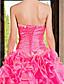 Ball Gown Sweetheart vestido de organza andar de comprimento com babados