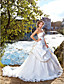 Lanting Ball Gown Plus Sizes Wedding Dress - Ivory Chapel Train Strapless Satin