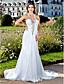 Lanting Bride® Sheath / Column Petite / Plus Sizes Wedding Dress - Classic & Timeless / Glamorous & Dramatic Sparkle & Shine / Open Back