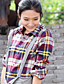 Meiyishen Kvinder Rød og gul Random Check Bluse