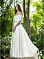 Lanting Bride® A-linje Petit / Plus Størrelser Brudekjole - Chic og moderne / Glamourøs og dramatisk Gulvlang Løs skulder Chiffon med
