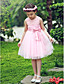 uma linha sem mangas de cetim / tule casamento / noite vestido da menina flor