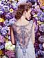 Торжественное мероприятие Платье - Декорированная спинка А-силуэт Вырез лодочкой Со шлейфом средней длины Сатиновый шифон сОборки сбоку /