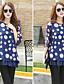 Γυναικεία Μπλούζα Καθημερινά Απλό / Κομψό στυλ street Πουά,¾ Μανίκι Στρογγυλή Λαιμόκοψη Καλοκαίρι Λεπτό Πολυεστέρας Μπλε / Μαύρο