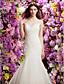 Lanting Bride® Τρομπέτα / Γοργόνα Μικροκαμωμένη Νυφικό Σι-θρου Ουρά μέτριου μήκους Με Κόσμημα Δαντέλα με