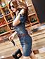 Sukienka - Obuwie damskie - Na co dzień - Przed kolano - Krótki rękaw - Jeans