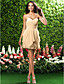 Homecoming Bridesmaid Dress Short Mini Chiffon Sheath Column Sweetheart Dress