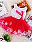 Sukienka-DziewczynyKwiaty-Mieszanka bawełny-Lato-Niebieski / Różowy / Fioletowy / Czerwony / Żółty