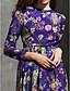 Торжественное мероприятие Платье А-силуэт Круглый вырез Ниже колена Шифон с Узоры / принт