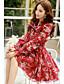 Bayanlar Polyester / Naylon / Splandeks Diz üstü Uzun Kollu Fiyonklar Fiyonklar Bayanlar Elbise