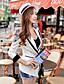 여성의 패치 워크 셔츠 카라 긴 소매 블레이져 화이트 폴리에스테르 / 스판덱스 봄 중간