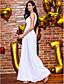 TS Couture Matura Formalna večer Haljina - Elegantno Kroj uz tijelo Ovalni izrez Do gležnja Šifon Čipka s Čipka