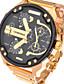 גברים שעונים צבאיים שעון יד קווארץ מתכת אל חלד להקה זהב מוזהב