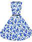 Damen Kleid-A-Linie / Skater Retro Blumen Knielang Polyester Rundhalsausschnitt