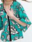 Chemisier Aux femmes,Imprimé Décontracté / Quotidien Chic de Rue Eté ½ Manches Col en V Vert / Jaune Polyester Moyen