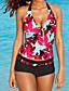 Kvinner Blomstret Bandeau Bikini Polyester
