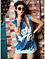 Nais- Hihaton Keskipaksu Pyöreä kaula-aukko Polyesteri Kesä Yksinkertainen Rento/arki T-paita,Patchwork / Kirjain Sininen