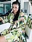 Dame Boheme I-byen-tøj / Ferie Shift Kjole Trykt mønster,Rund hals Knælang 1/2 ærmelængde Grøn Polyester Sommer Højtaljede Uelastisk Tynd