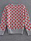 glip fransk gå ud søde regelmæssige pulloverpolka dot rød / sort / grå rund hals langærmet uld vinter