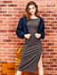 liangsanshi kvinders afslappet / daglig street chic falde jakker, solid stå langærmet blå polyester medium