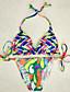 Kvinner Fargeblokk / Blomstret Halter Bikini Polyester