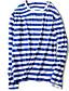 Nylon Blå / Rød / Sort / Grønn Tynn Langermet,Rund hals T-skjorte Stripet Vår / Høst Enkel Ut på byen / Fritid/hverdag / Plusstørrelser