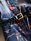 Damen Jeansstoff Kleid-Lässig/Alltäglich Einfach Druck V-Ausschnitt Knielang ¾-Arm Blau Baumwolle Polyester Herbst Hohe Hüfthöhe