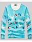 Herren Blumen Einfach Lässig/Alltäglich T-shirt,Rundhalsausschnitt Herbst Winter Langarm Blau Baumwolle Mittel