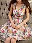 Trapèze Noir Robe Femme Plage Sexy,Fleur Col en V Mi-long Sans Manches Beige Polyester Eté Taille Haute Micro-élastique