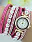 Damen Armband-Uhr Quartz Strass Leder Band Bettelarmband Schwarz Weiß Blau Rot Rosa Lila Beige Rose Marke