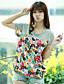 Damen Druck Einfarbig Einfach Lässig/Alltäglich T-shirt,Rundhalsausschnitt Kurzarm Baumwolle