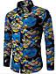 Bomull Rayon Medium Langermet,Skjortekrage Skjorte Geometrisk Trykt mønster Alle sesonger Vintage Enkel Ut på byen Fritid/hverdag Herre