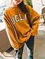 Damen Pullover Ausgehen Solide Buchstabe Rundhalsausschnitt Dehnbar Polyester Lange Ärmel Frühling Herbst