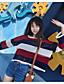 Damen Standard Pullover-Ausgehen Einfach Gestreift Rundhalsausschnitt Langarm Polyester Frühling Dünn Mikro-elastisch