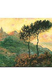hand-painted pintura a óleo da igreja em Varengeville c.1882 claude monet com moldura esticado