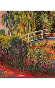 Peinture à l'huile réalisée à la main sur canevas tendu - Le pont japonais de Claude Monet