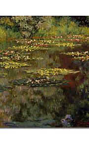 peints à la main peinture à l'huile de l'eau lis par Claude Monet avec cadre tendu