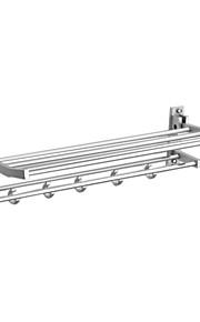 Aluminum-Magnesium Alloy 25 Inch Bathroom Shelf With Towel Bar And Hooks