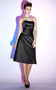 Cocktail Party/Holiday Dress - Black Plus Sizes A-line Strapless Knee-length Satin