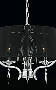 elegant krystall lysekrone med 3 lamper i svart skygge