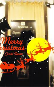kerst decoratie muurstickers vakantie ornamenten vliegende rendieren op maan