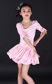 Kinderdanskleding Jurken Kinderen Opleiding elastan Blauw / Roze / Wit / Geel Latin Dans Lente, Herfst, Winter, Zomer Halve mouw