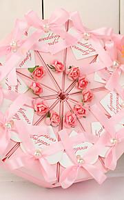 arc rose et faux perle topper boîte de tranche de gâteau (jeu de 10)