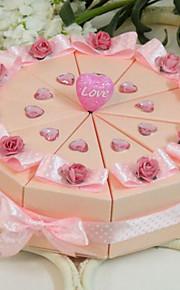 délicieusement rose boîte de faveur gâteau (jeu de 10)