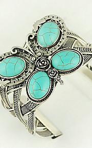 turkoois en zilver legering vlinder manchet armband
