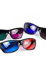 plastramme harpiks linse anaglyphic blå + rød 3d film specielle briller (tilfældig farve)