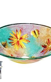 colourfull rotonda nave lavabo in vetro temperato con pop up e anello di montaggio